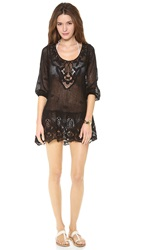 Eberjey Traveler Natalya Peplum Cover Up Dress Black
