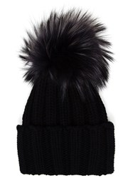 Inverni Cashmere And Fur Beanie Black