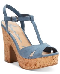 American Rag Jamie T Strap Platform Dress Sandals Only At Macy's Women's Shoes Soft Blue Cork