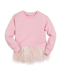 Milly Minis Feather Hem Sweatshirt Size 4 7 Pink