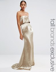 Jarlo Tall Blaze Overlay Maxi Dress Gold Silver