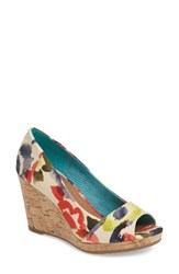 Toms Women's Stella Wedge Pump Red Floral