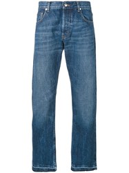 Alexander Mcqueen Straight Fit Jeans Men Cotton 44 Blue