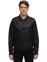 Schott Zip Up Washed Leather Jacket Black