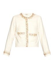 Wales Bonner Thione Embellished Collarless Jacket