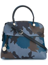 Furla Piper Camouflage Print Tote Women Calf Leather One Size Blue