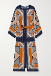 Rosetta Getty Belted Printed Crepe De Chine Maxi Dress Navy