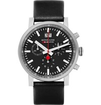 Mondaine Evo Stainless Steel And Leather Chronograph Watch Black