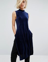 J.O.A High Neck Velvet Tunic With Side Split Blue