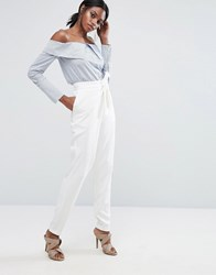 Lavish Alice Tailored Trouser With Wrap Over Tie Detail White