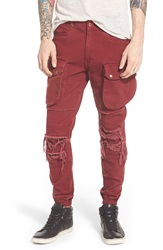 Publish Brand 'Crow' Woven Cargo Jogger Pants Maroon
