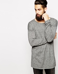 Asos Longline Jumper With Scoop Neck Blackwhite