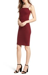 Soprano Open Back Body Con Dress Wine