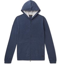 Loro Piana Stretch Cotton Jersey Zip Up Hoodie Navy