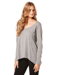 Candc California Long Sleeve Drape Top Heather Grey