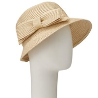John Lewis Braided Bow Cloche Hat Natural