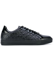 Versace Embossed Greek Key Low Top Sneakers Men Leather Patent Leather Rubber 42 Black