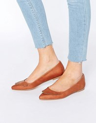 Asos Limbo Fringed Pointed Ballet Flats Tan