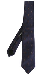 Alexander Mcqueen Skull And Polka Dot Tie Blue