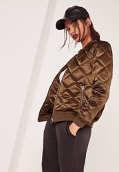 Missguided Quilted Satin Bomber Jacket Brown Bronze