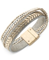 Lonna And Lilly Two Tone Leather Multi Row Flex Bracelet