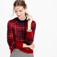 J.Crew Brushed Wool Blend Crewneck Sweater In Plaid