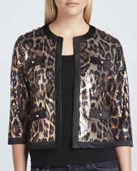 Michael Simon Animal Sequined Cropped Jacket Petite