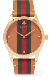 Gucci G Timeless Striped Leather And Gold Tone Watch Red