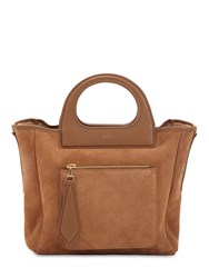 Max Mara Gra11xs Reversible Suede And Shearling Bag Camel