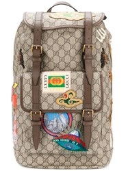 Gucci Gg Supreme Multi Pocket Backpack Women Polyester Polyurethane One Size Brown