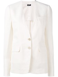 Jil Sander Navy Two Button Blazer White