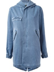 Mr And Mrs Italy Hooded Military Coat Blue