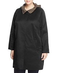 Eileen Fisher Plus Reversible Hooded Stand Collar Coat Black