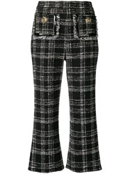 Elisabetta Franchi Checked Print Cropped Trousers Black