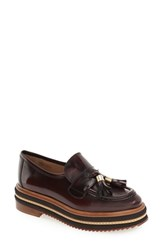 Shellys Women's London 'Kerena' Tassel Platform Loafer Burgundy Leather
