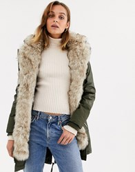 River Island Parka Coat With Faux Fur Inner In Khaki Green