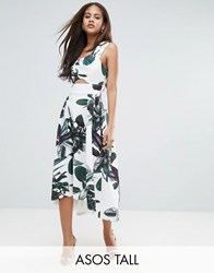 Asos Tall Palm Print One Shoulder Scuba Dip Back Prom Dress Multi Green