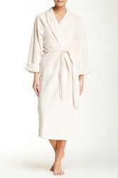 Casual Moments Shawl Collar Wrap Needle Out Trim Robe Beige