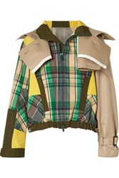 Sacai Oversized Cotton Blend Twill And Checked Canvas Jacket Green