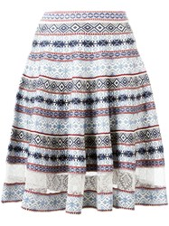 Alexander Mcqueen Knee Length Jacquard Skirt Blue