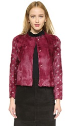 Red Valentino Fur Jacket With Grommet Sleeves Amaranto