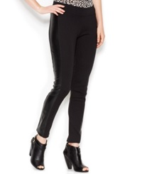 Kensie Faux Leather Panel Ponte Leggings Black
