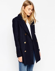 Asos Peacoat With Double Breast Navy