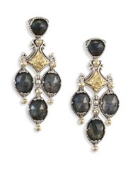 Konstantino Cassiopeia Doublet Spectrolite 18K Yellow Gold And Sterling Silver Chandelier Earrings Multi