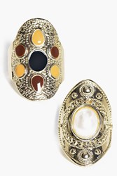 Boohoo Stone Set Antique Ring Pack Gold