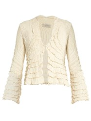 Alex Gore Browne Ruffle V Neck Silk Jacket Ivory