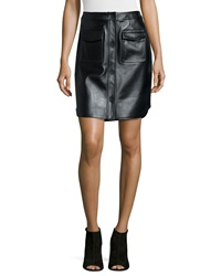 Opening Ceremony Leather Button Front Miniskirt
