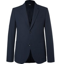 A.P.C. Blue Jerome Slim Fit Stretch Cotton Seersucker Blazer Navy