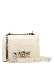 Alexander Mcqueen Knuckle Crocodile Effect Leather Cross Body Bag White