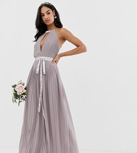 Tfnc Pleated Maxi Bridesmaid Dress With Cross Back And Bow Detail Grey